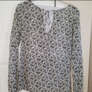 SOLD - Theory Mindy Floral Long Sleeve Silk Blouse
